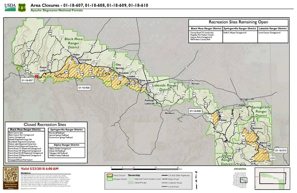 Apache-Sitgreaves National Forests close 4 Areas | KNAU ...
