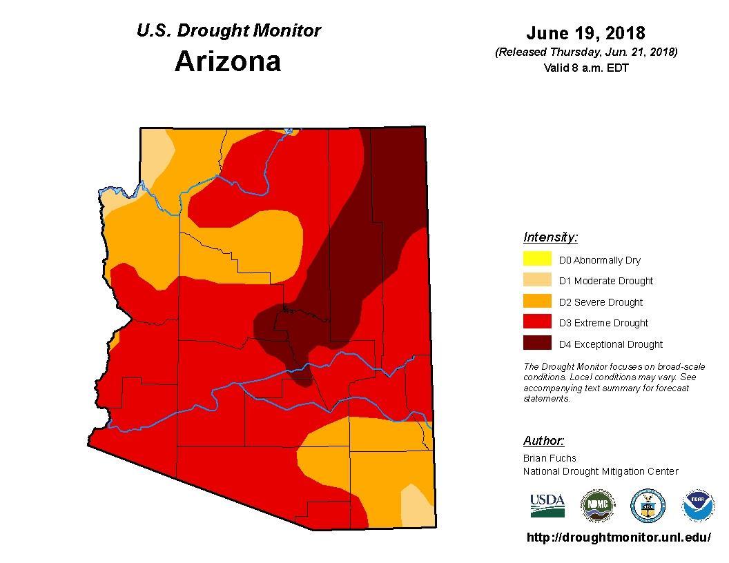 Show Map Of Arizona.Map Shows Arizona Free Of Short Term Drought Knau Arizona Public Radio