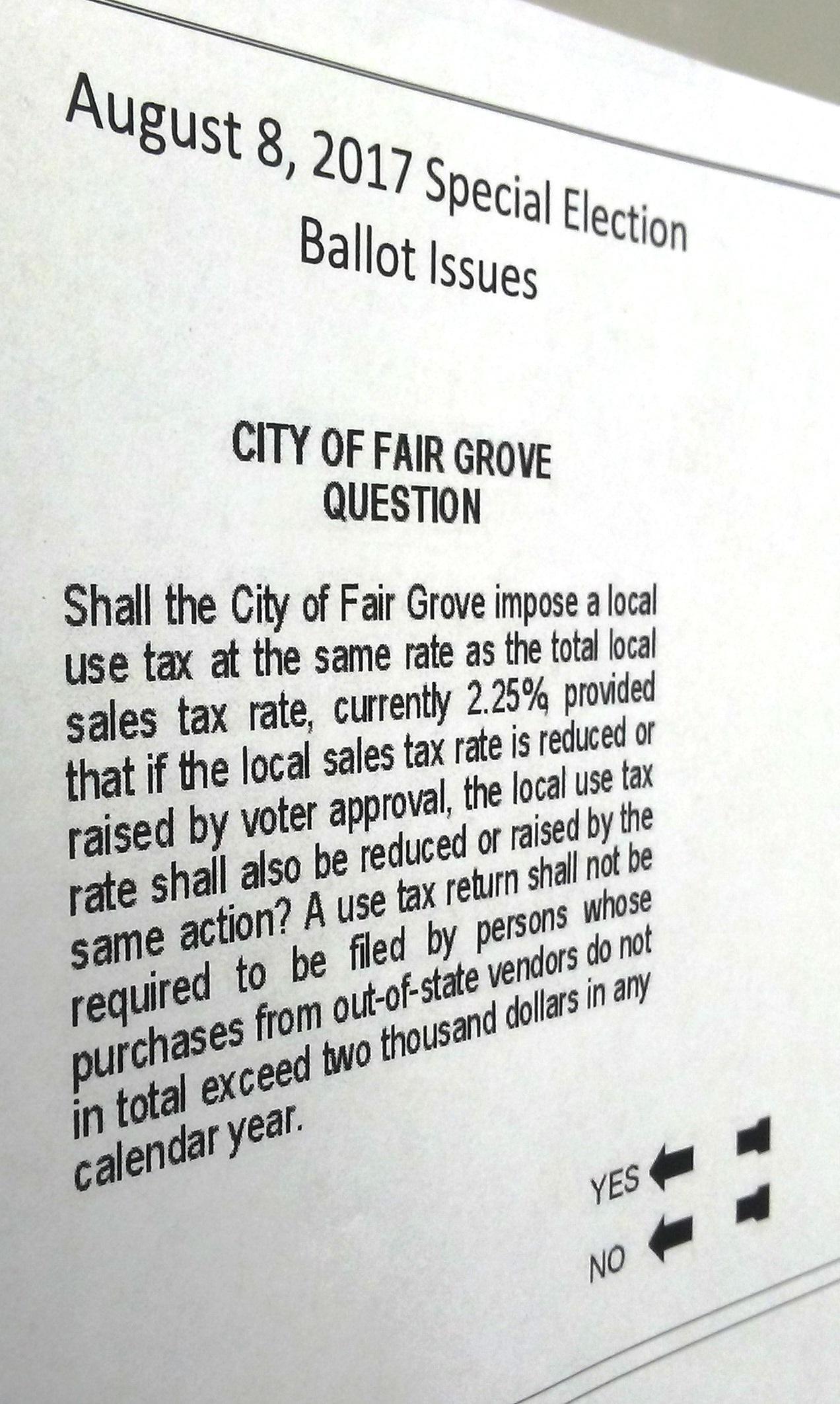 Sample ballot for tuesday's election.