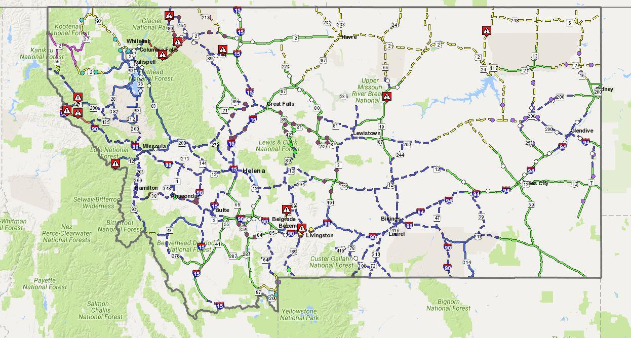 Montana Road Map Rain And Avalanches Bring Highway Closures Across Western Montana  Montana Road Map