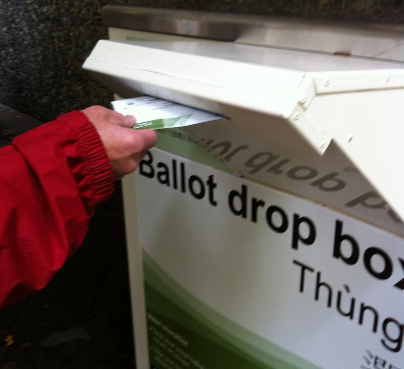 A ballot drop box in Seattle