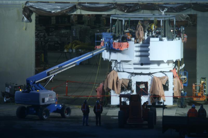 Shell contractors at the Bellingham Shipping Terminal repair and upgrade the containment dome.