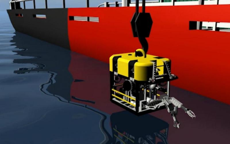Illustration of the Arctic Challenger's Remotely Operated Vehicle being lowered into the sea. The real ROV got tangled in anchor lines during a field test.