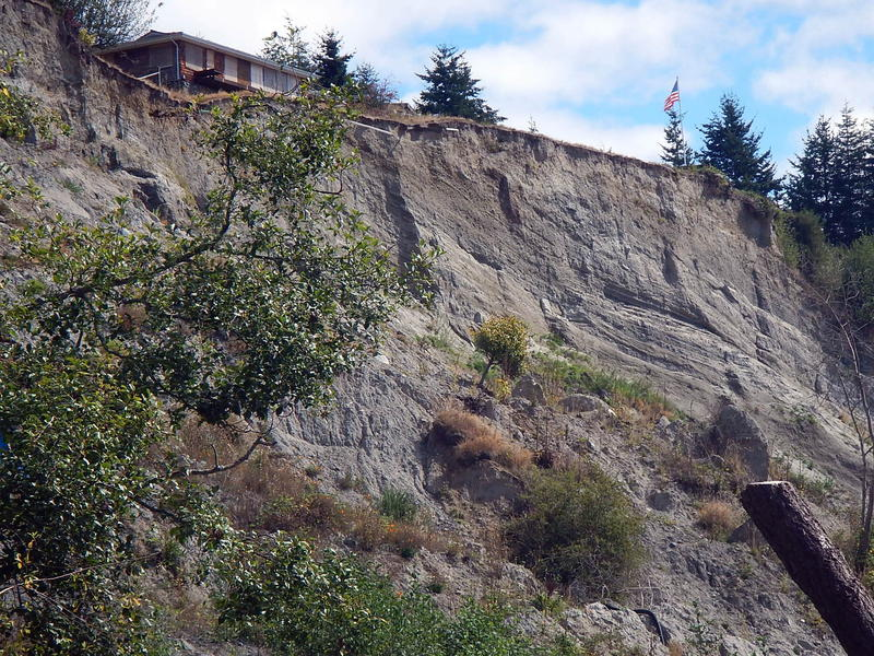 A condemned house on the edge of the Ledgewood Beach landslide on Whidbey Island.