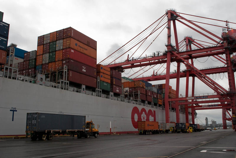 A container ship at the Port of Seattle.