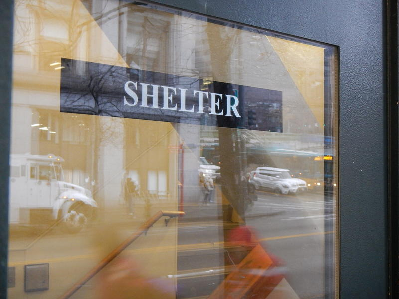 The entrance to a homeless shelter on Third Avenue in Seattle.