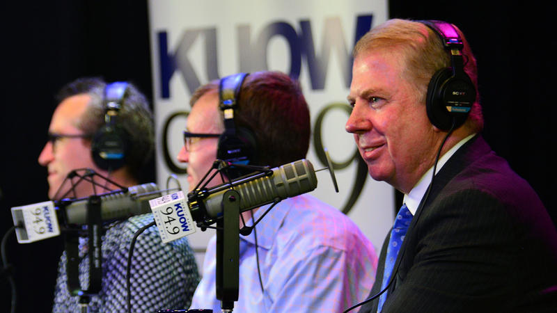 Eli Sanders, Rob McKenna and Mayor Ed Murray participate in KUOW's 'Week in Review' in front of a live audience at the Vera Project on Fri. July 31, 2015.