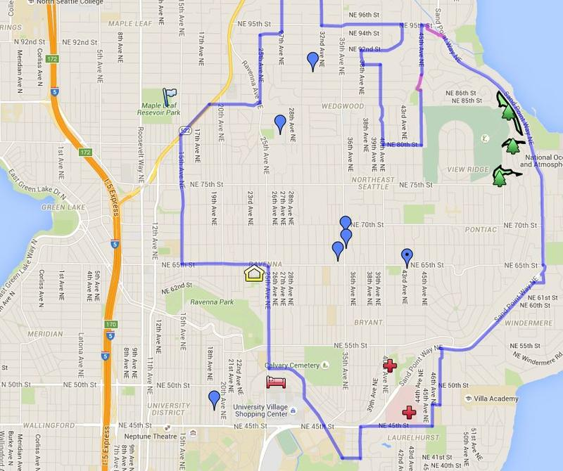A Google map shows the outline of the North Seattle eruv.