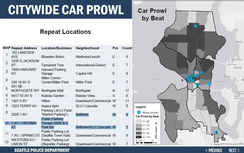 Car prowls are happening repeatedly in certain Seattle locations, according to SPD.