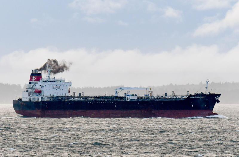 The High Mercury tanker in Haro Strait between San Juan and Vancouver islands on Feb. 15.