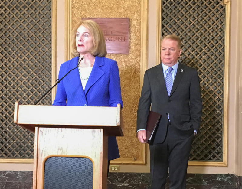 Jenny Durkan speaks at the Paramount Theater after Mayor Ed Murray endorsed her for the Seattle mayor's race on Thursday, June 29, 2017.