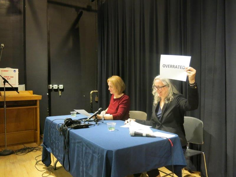 Mayoral candidates Jenny Durkan (left) and Cary Moon (right) enjoy the lightening round