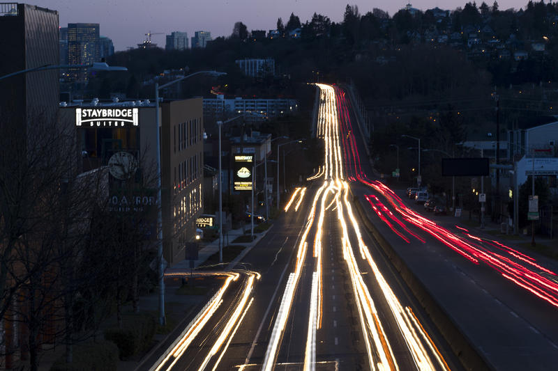 Traffic is shown on Aurora Avenue North on Monday, Feb. 26, 2018, in Seattle.