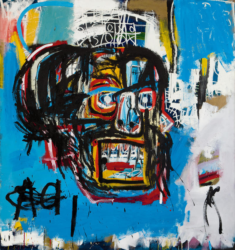 """""""Untitled"""", Jean-Michel Basquiat, 1982. Last year the piece sold for $110 million, making it the most expensive piece of American artwork in history."""