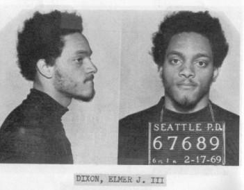 Elmer Dixon is seen in a police mugshot after a trip to Eugene, Oregon, to organize a Black Panther Party chapter.