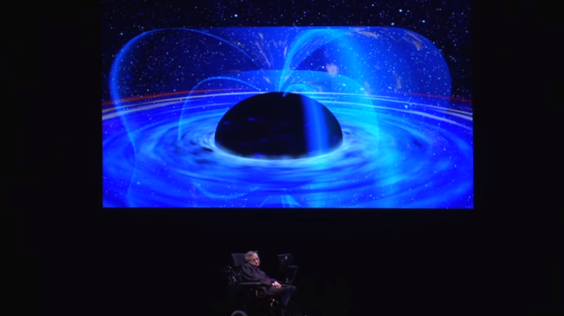 Stephen Hawking presenting at the Pacific Science Center in 2012.