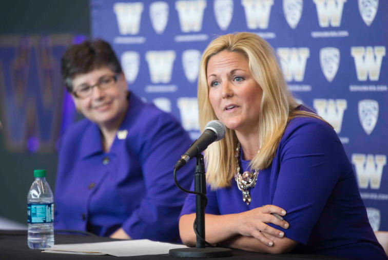 Athletic Director Jennifer Cohen says the University of Washington is thrilled to form the partnership with adidas. Cohen is pictured here with UW president Ana Mari Cauce in 2016.