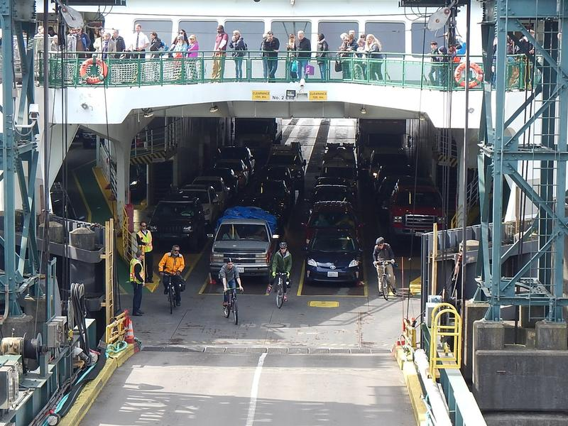 These cyclists did not forget (or 'forget') their bikes on the ferry.