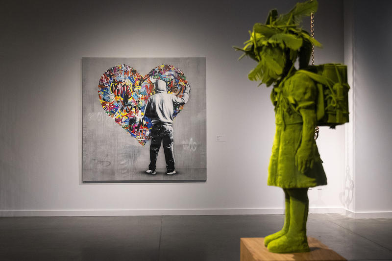 Artworks by Martin Whatson of Norway, center, and Kim Simonsson of Finland, right, are on display inside the Northern Exposure exhibit on Wednesday, May 2, 2018, at the new Nordic Museum in Seattle.