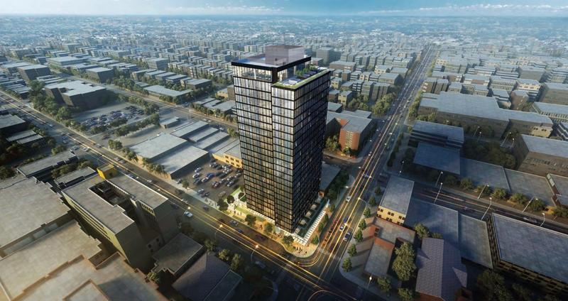 The M, a 24 floor residential tower being built on the site of a gas station, is part of a wave of development expected in Seattle's U-District
