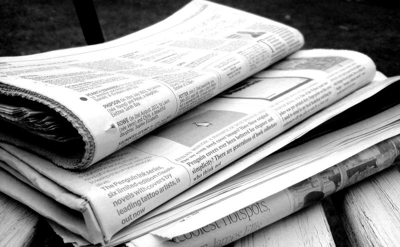 Newspapers in black and white