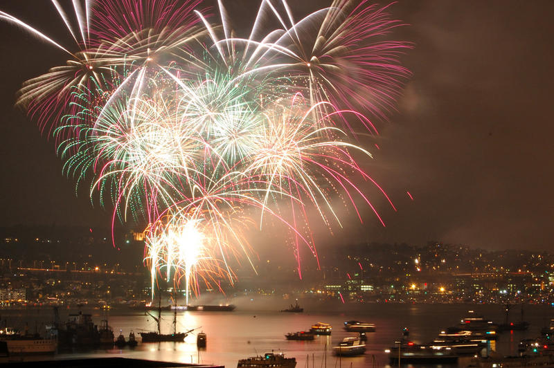 Fourth of July fireworks over Lake Union in Seattle.