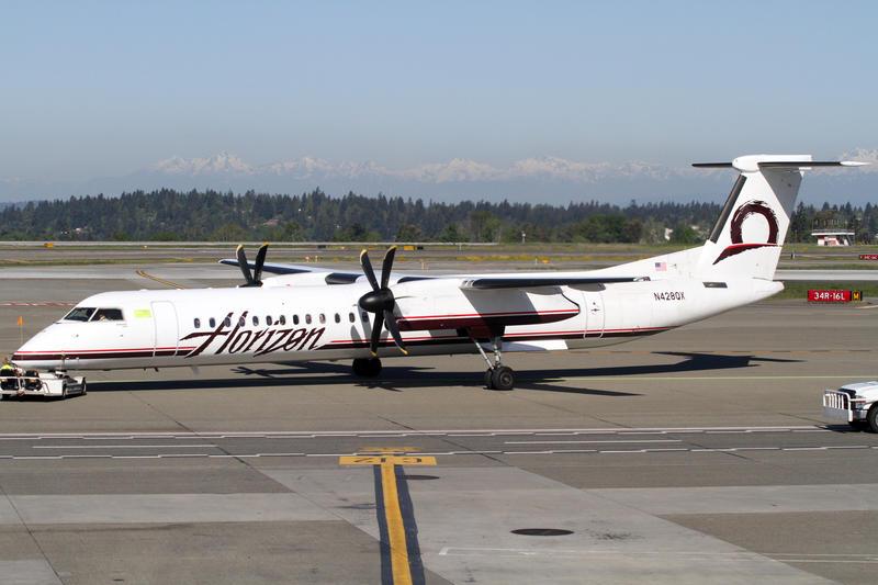 FILE: A Horizon Air Bombardier DHC8-Q400 at Sea-Tac Airport.