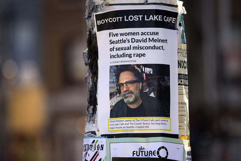 A poster attached to a telephone pole shows KUOW's original story on Tuesday, August 7, 2018, near the intersection of East Olive Way and Summit Avenue East in Seattle.