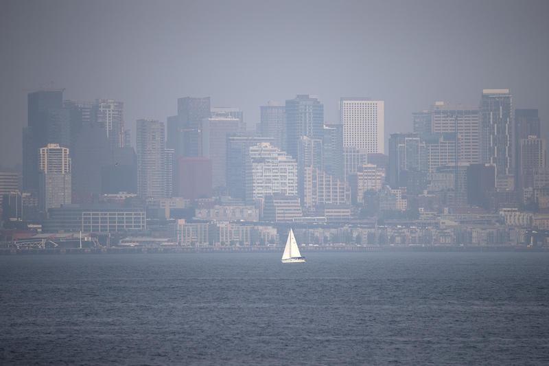The smoke-shrouded Seattle skyline on Tuesday.