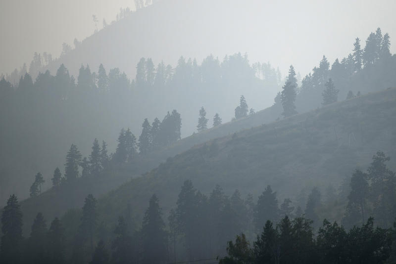 Heavy smoke from wildfires is shown on Wednesday, August 15, 2018, outside of Wenatchee.