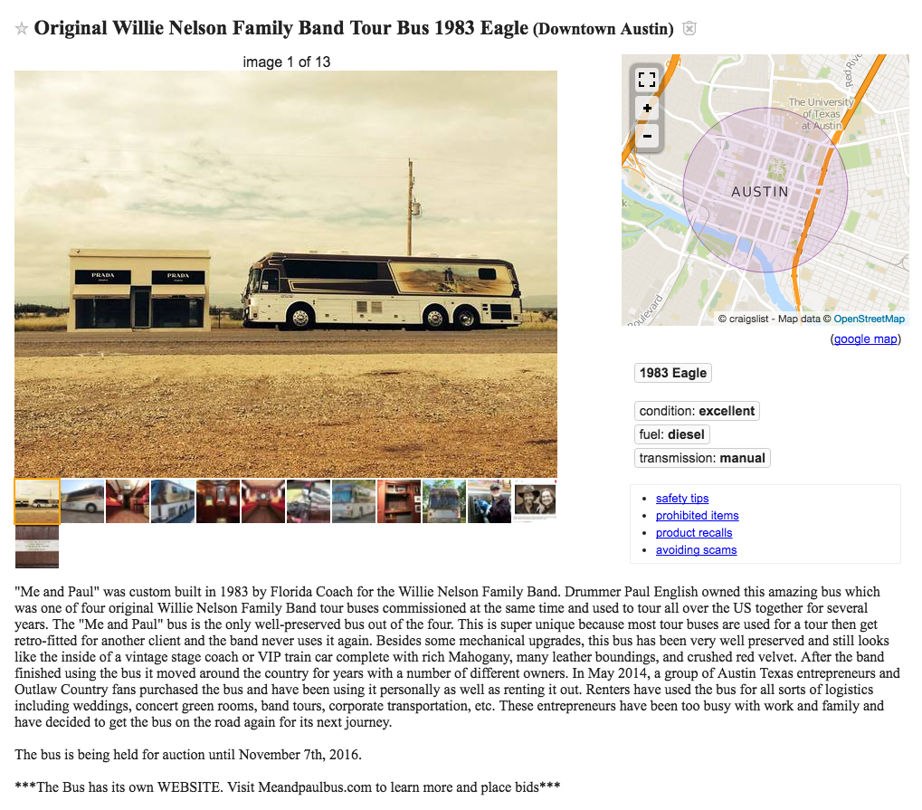 On the Road Again: You Can Buy One of Willie Nelson's Old