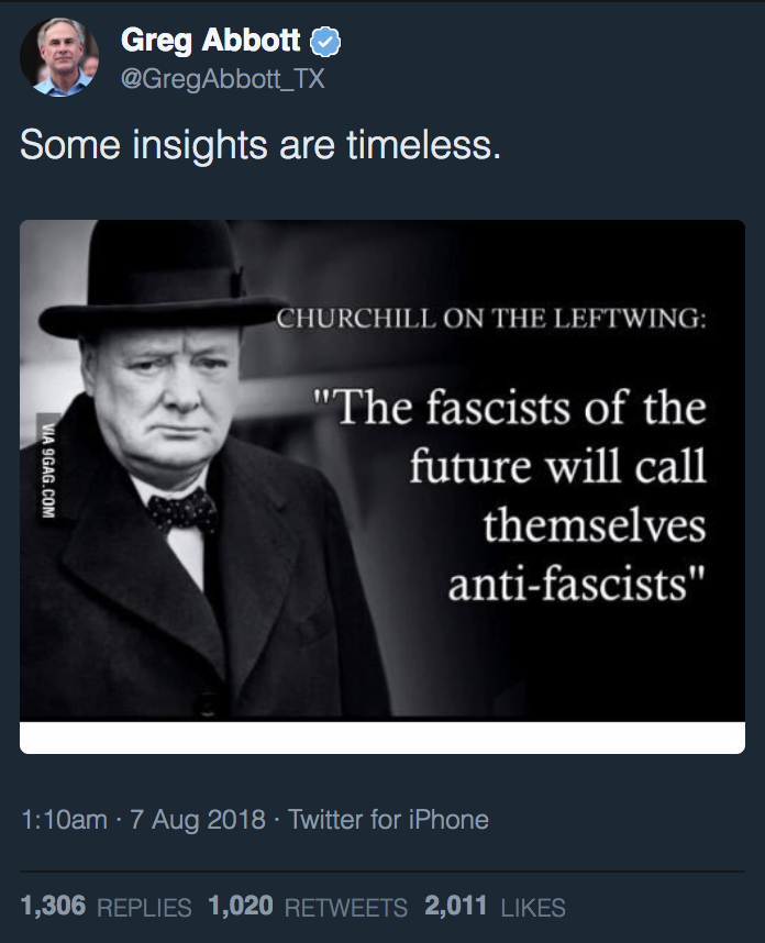 Gov Greg Abbott Tweeted A Winston Churchill Quote About