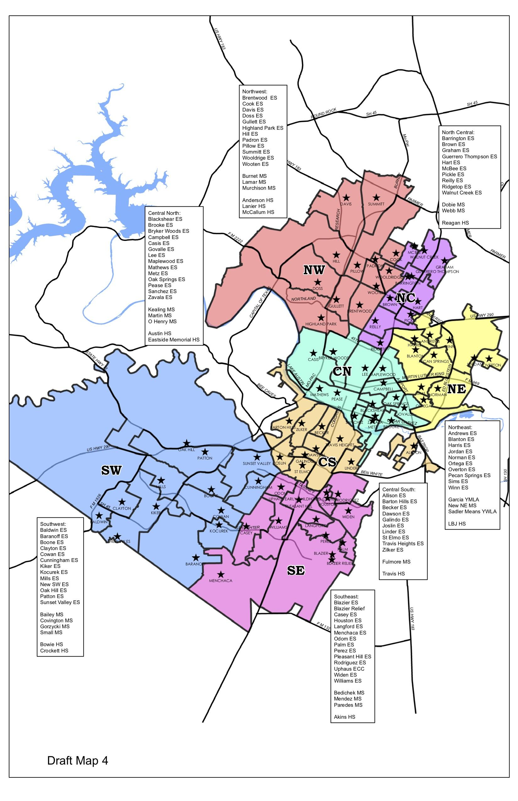 austin isd district map Here Are The Regions Austin Isd Is Using In Its Plan To Close austin isd district map