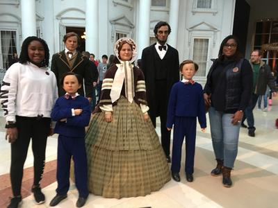 bd7abc28c8c9e It's become a tradition for visitors to pose with Lincoln cutouts at the  museum. Jadyn Scott and her mom Justina Scott-Hayes of Chatham, Illinois,  ...
