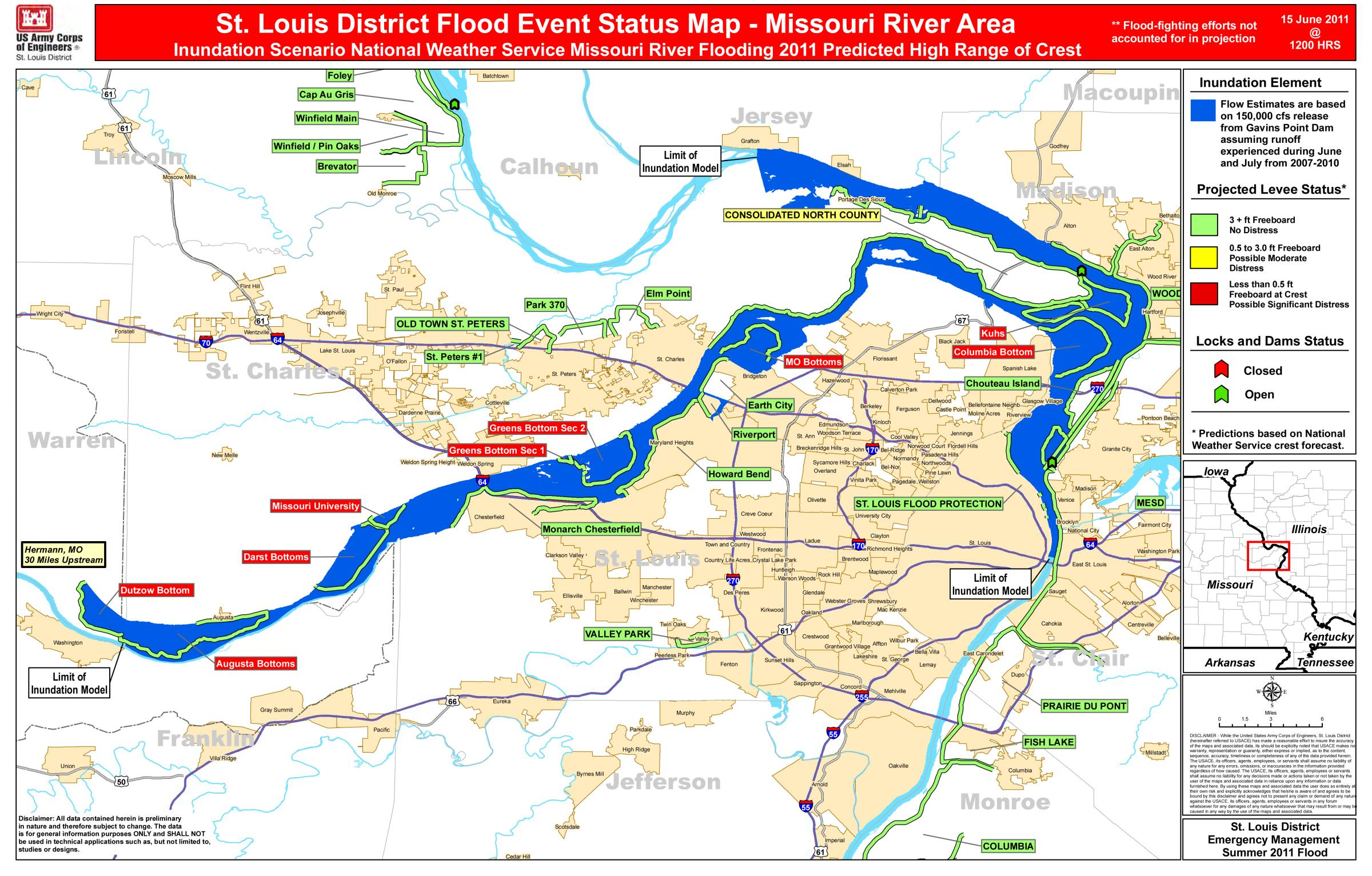 Missouri Flooding Map Extent of Missouri River flooding near St. Louis to depend on  Missouri Flooding Map