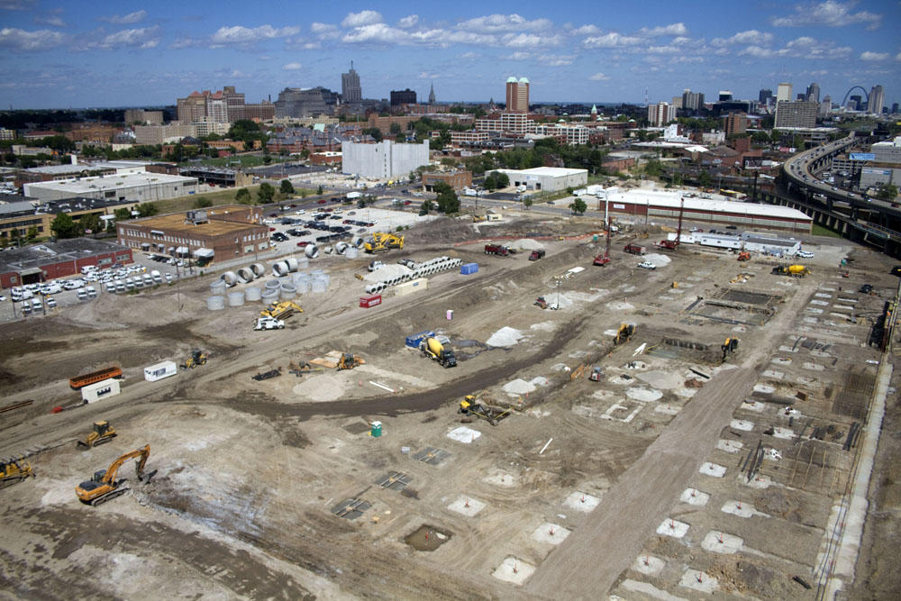 View Of The Ikea Construction Site From Top Elevator D S Bin Deck About 140 Feet Up Listen To St Louis Public Radio Maria Altman Talk With