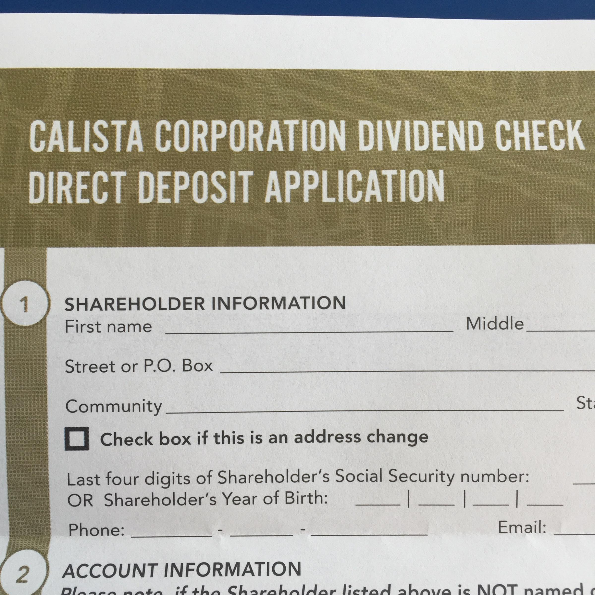 Calista Incentivizing Shareholders To Register For Direct