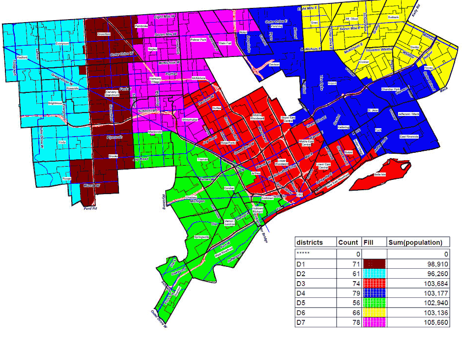 Detroit District Map Alternate plan proposed for Detroit Council districts | Michigan Radio Detroit District Map