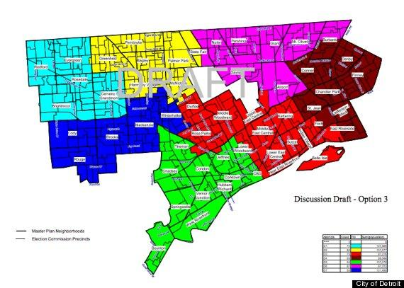 Detroit District Map Detroit Council districts: And the winner is Option 3  Detroit District Map