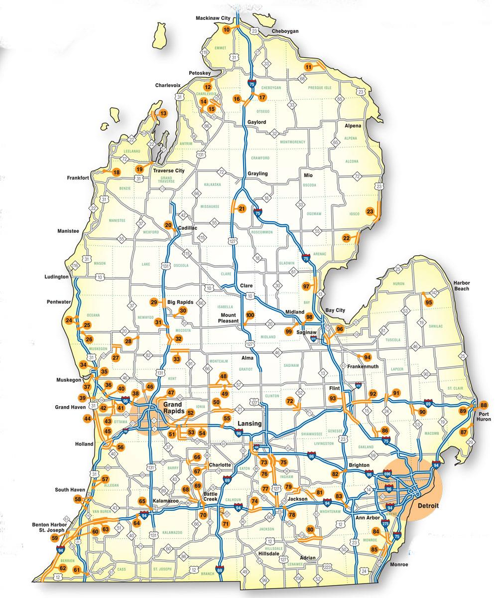 Michigan Road Map This map will show you where Michigan's big road construction  Michigan Road Map