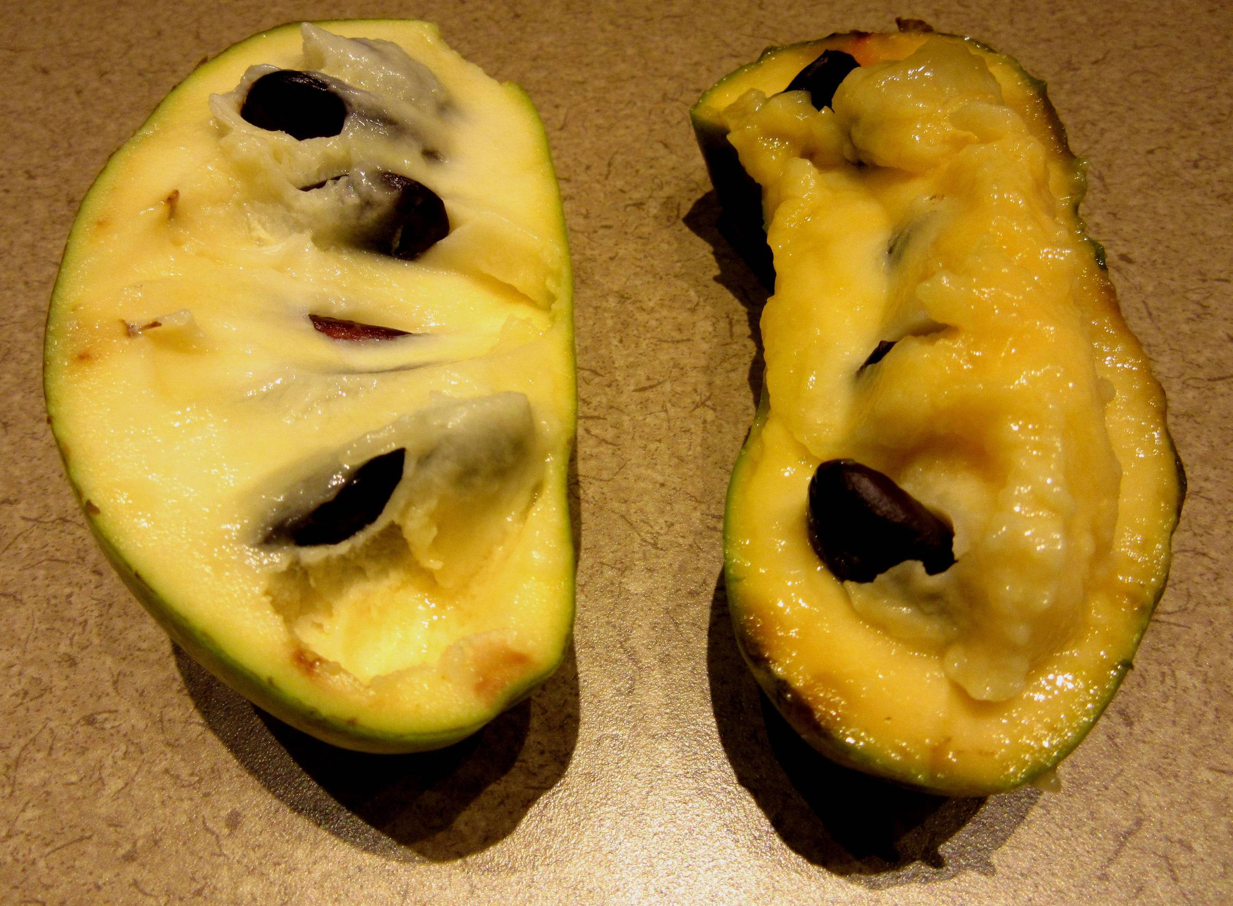 Check Out The Pawpaw S Characteristic Creamy Yellow Flesh And Large Dark Seeds