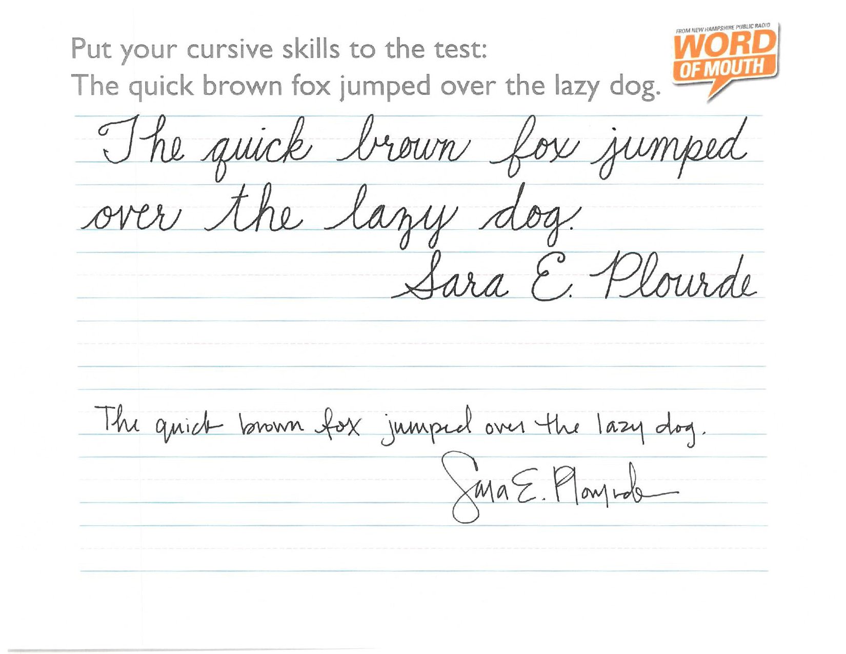 Putting Our Cursive Skills To The Test | New Hampshire ...