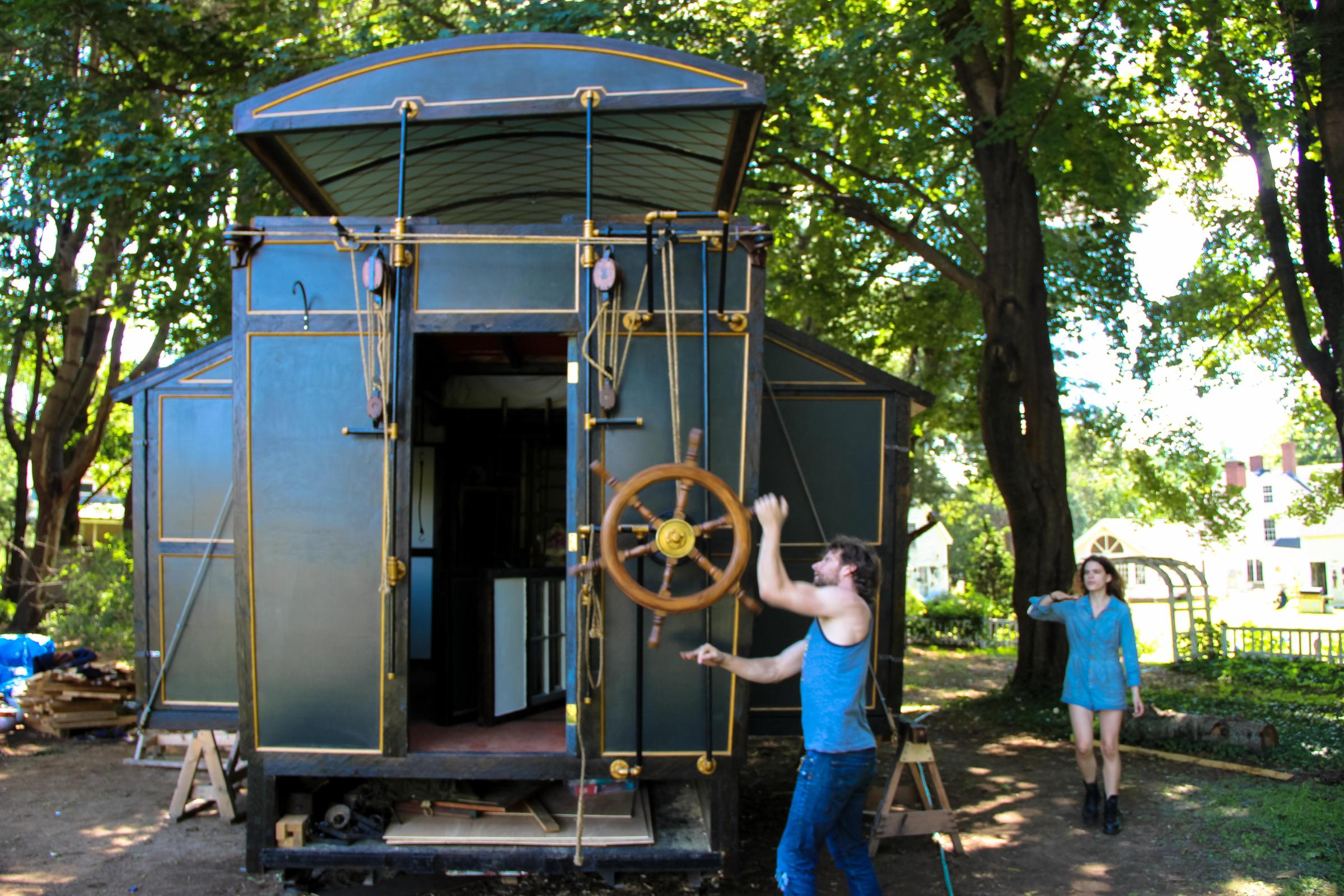 Steampunk Steamer Trunk - A Tiny House Contraption on Wheels ... on raised roof home, raised roof design, flat house plans, garage house plans, condo house plans, floor house plans, raised roof kitchen, raised roof construction, windows house plans, tv house plans, heavy duty house plans,