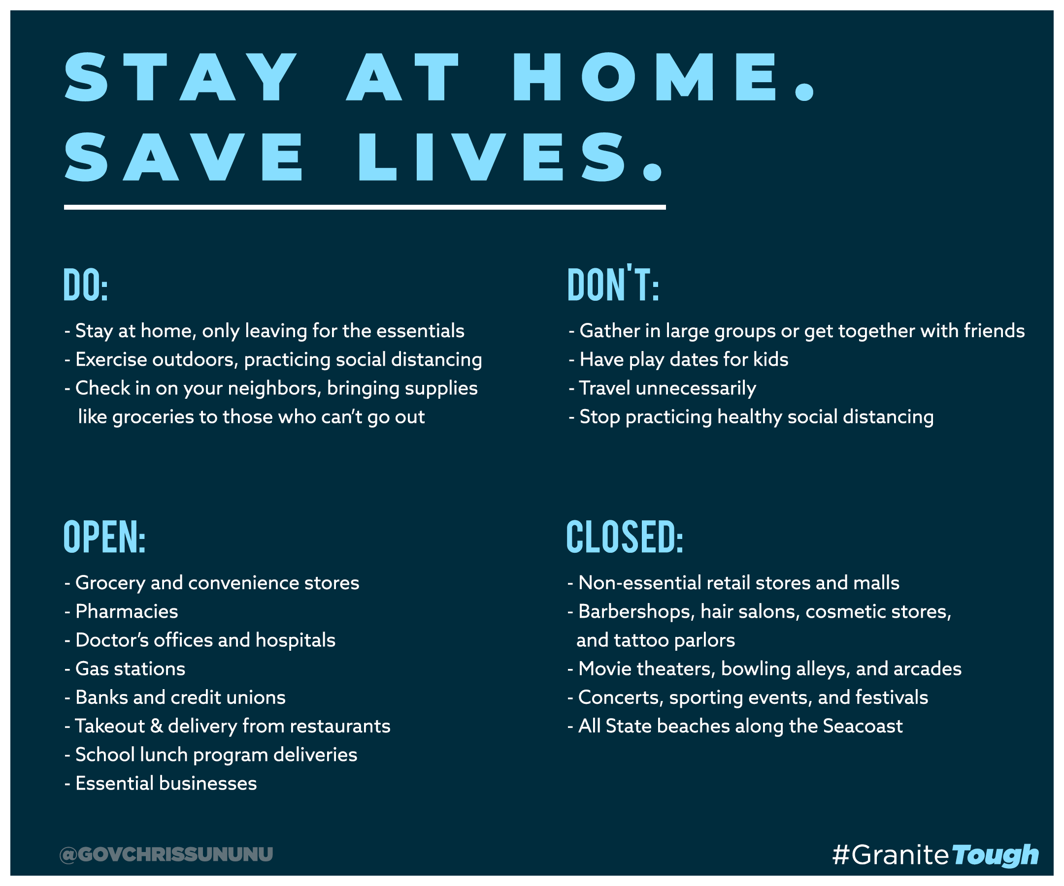 Stay at Home.  Save Lives.   Information on the Coronavirus (COVID-19)