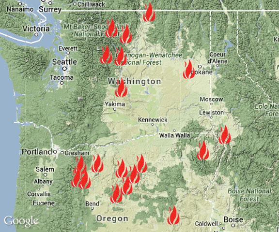 Washington Wildfire Map 2017.Wa Fires Map Quality Map