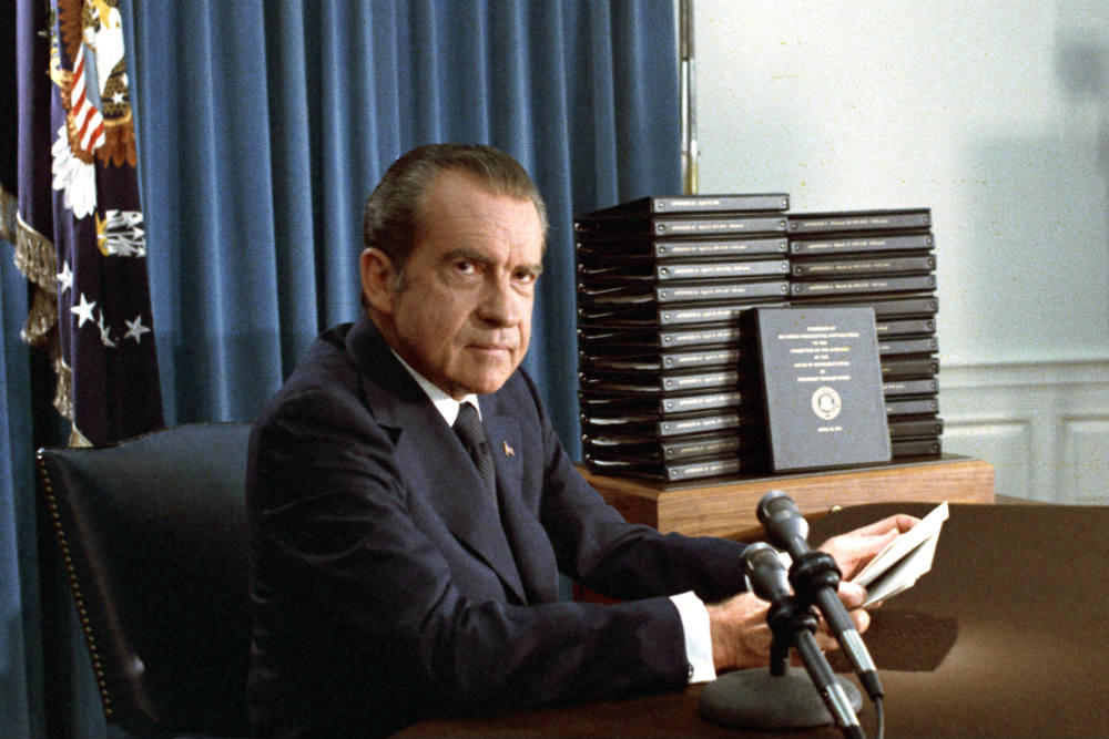 President Nixon With Edited Transcripts Of White House Tape Conversations During Broadcast His Address To The Nation