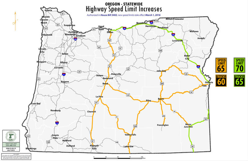 Higher Speed Limits Mean Fewer Places To P On Oregon ... on a physical map of oregon, park map of oregon, highway map of oregon, a political map of oregon, river map of oregon, street map of oregon, rail map of oregon, airport map of oregon,
