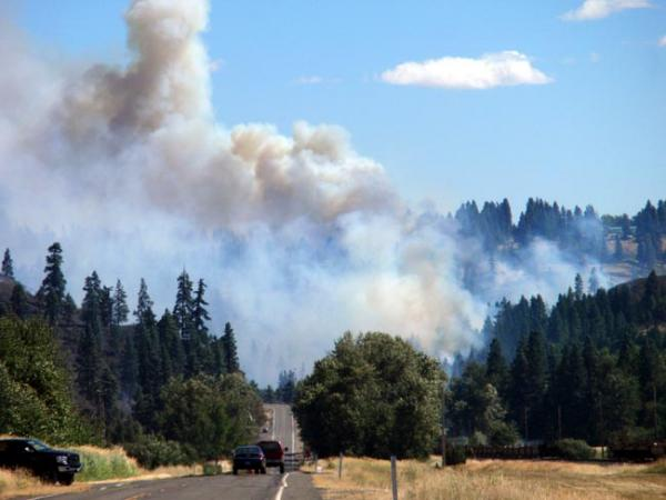 View of the Taylor Bridge fire near Cle Elum, Wash. Photo by Tom Banse