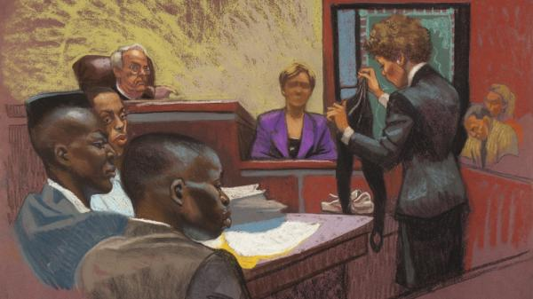 A courtroom sketch from the first trial in the Central Park jogger case shows prosecutor Elizabeth Lederer (standing on right), the victim (on the stand) and defendants Yusef Salaam, Raymond Santana and Antron McCray (on left). The high-profile case is the subject of a Ken Burns documentary, <em>The Central Park Five</em>, airing on PBS this month.