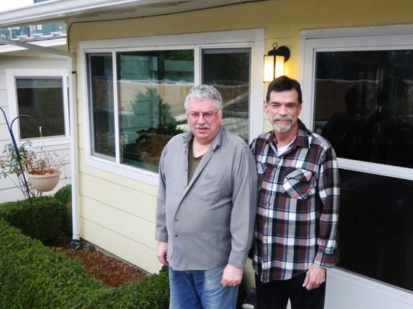 Michael Stotts (left) and Rod Dolan, together since 1977, settled at the Rose Villa retirement community in Portland, Ore.